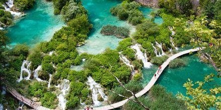 De vackra Plitvicesjöarna ligger på vägen mellan Kroatiens huvudstad Zagreb och kuststaden Zadar.