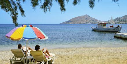 Lata dagar på stranden på Leros.