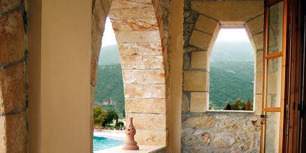 Utsikt från hotell Liakoto i Kardamili, Grekland.