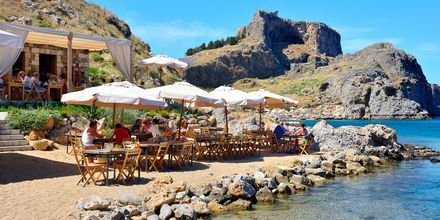Lindosstranden på Rhodos, Grekland.