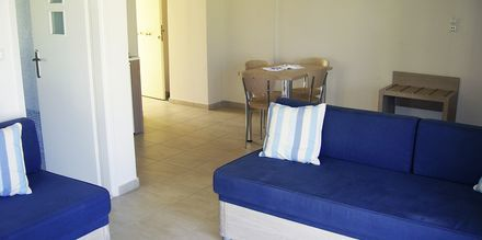 Enrumslägenhet på hotell Lissos i Platanias på Kreta, Grekland.