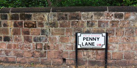 Penny Lane i Liverpool, England.