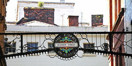 Mathew Street, ett riktigt roligt nöjesområde i Liverpool.