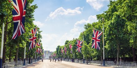 Gatan mot Buckingham Palace i London.