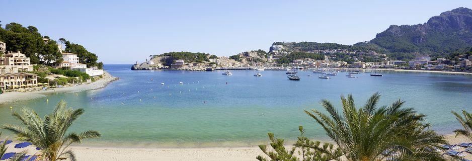 Utsikt från hotell Los Geranios i Puerto de Sóller på Mallorca.