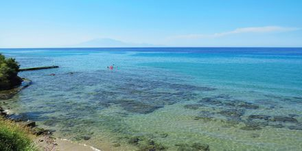 Stranden vid hotell Loukas on the Waves i Tragaki, Zakynthos.