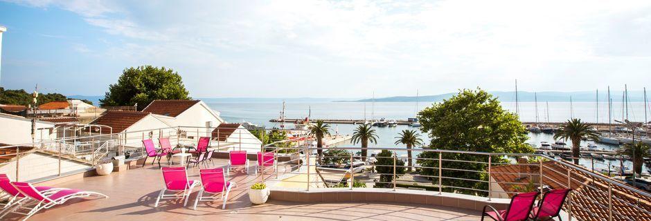 Utsikt från hotell Luxur i Baska Voda, Kroatien.