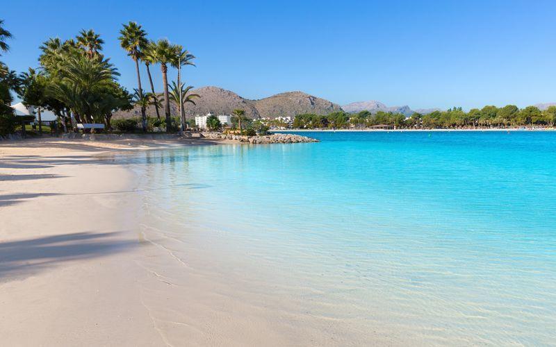 Stranden i Alcudia är Mallorcas längsta och nästan 15 km lång.