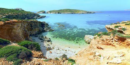 Turkost vatten vid Blå Lagunen på Malta, vid ön Comino.