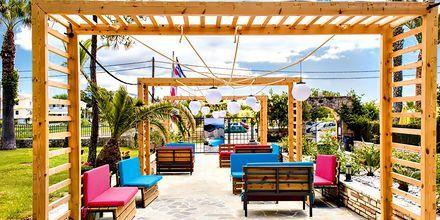 Uteplats på hotell Margarita på Zakynthos, i Grekland.