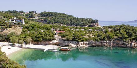 Utsikten mot stranden från hotell Marilena på Alonissos, Grekland.