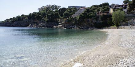 Stranden nedanför hotell Marilena på Alonissos, Grekland.