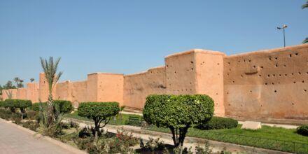 Den gamla stadsmuren i Marrakech, Marocko.