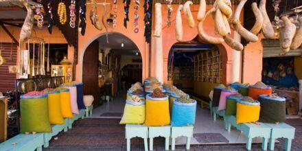 Marknadsplats i Marrakech, Marocko.