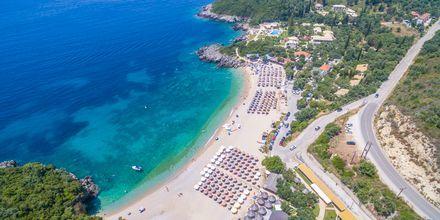Stranden vid hotell Mega Ammos i Sivota, Grekland