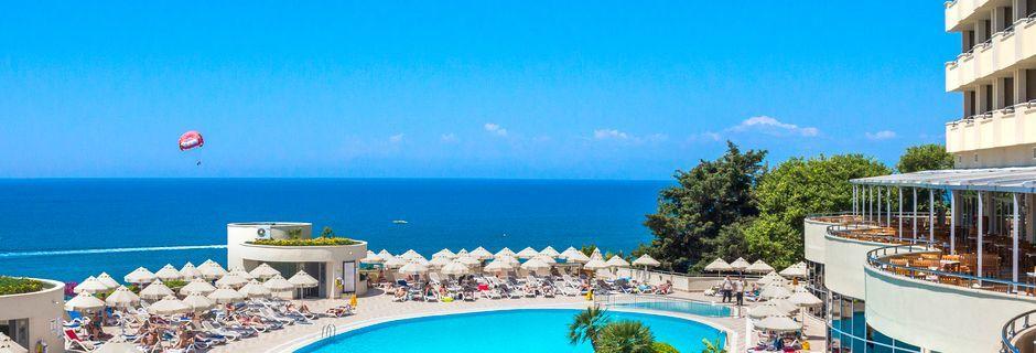 Poolområdet på hotell Melas Resort i Side, Turkiet.