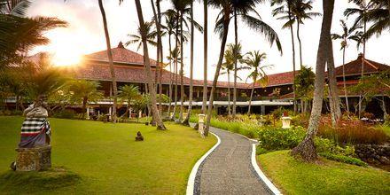 Trädgård på hotell Melia Bali Villas & Spa i Nusa Dua, Bali.