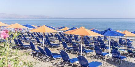 Stranden vid hotell Melina Beach i Platanias på Kreta, Grekland.