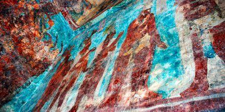 Väggmålningar av mayaindianer på Riviera Maya, Mexiko.