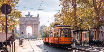 Spårvagn i Milano, Italien.