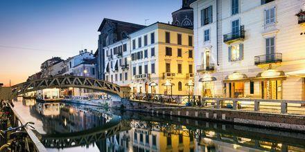 Kanalen Naviglio Grande i Milano, Italien.