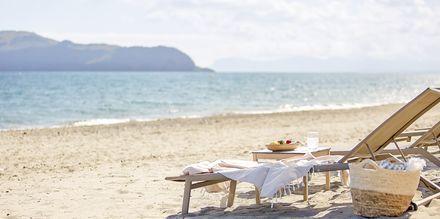 Stranden vid hotell Minoa Palace resort & Spa i Platanias på Kreta, Grekland.