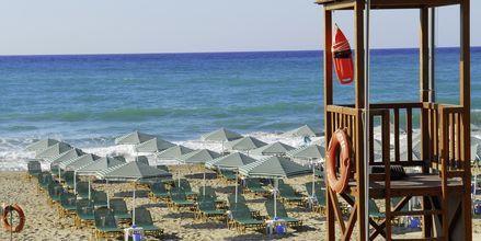 Stranden vid hotell Minos Mare i Rethymnon på Kreta, Grekland.