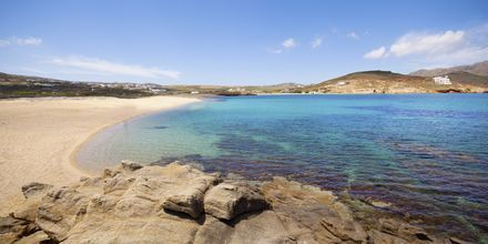 Ftelia beach på Mykonos, Grekland.
