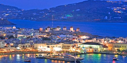 Gamla hamnen i Mykonos stad, Grekland.