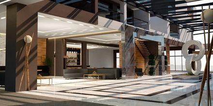 Skissbild på reception på hotell Myrion Beach Resort i Gerani på Kreta, Grekland.