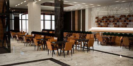Skissbild på huvudrestaurangen på hotell Myrion Beach Resort i Gerani på Kreta, Grekland.