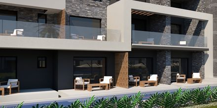 Skissbild på delade pooler på hotell Myrion Beach Resort i Gerani på Kreta, Grekland.