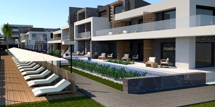 Skissbild på delad pool på hotell Myrion Beach Resort i Gerani på Kreta, Grekland.