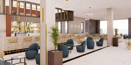 Skissbild på baren på hotell Myrion Beach Resort i Gerani på Kreta, Grekland.