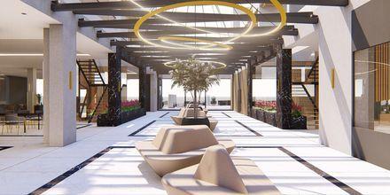 Skissbild på lobbyn på hotell Myrion Beach Resort i Gerani på Kreta, Grekland.