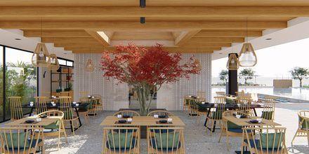 Skissbild på restaurangen på hotell Myrion Beach Resort i Gerani på Kreta, Grekland.