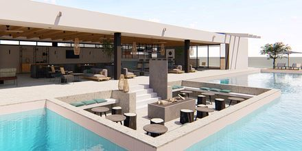 Skissbild på poolbaren på hotell Myrion Beach Resort i Gerani på Kreta, Grekland.