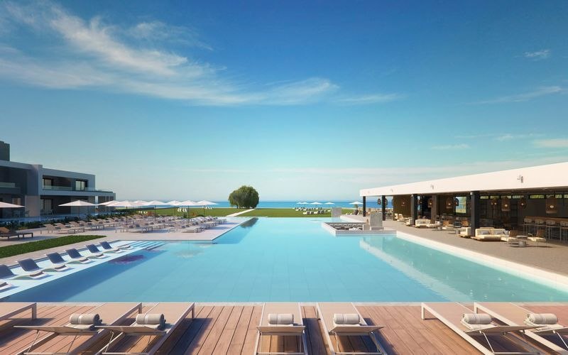 Skissbild på poolområdet på hotell Myrion Beach Resort i Gerani på Kreta, Grekland.