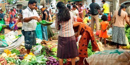 Marknad i Negombo på Sri Lanka.