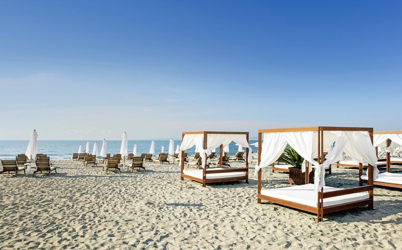 Stranden i Pomorie i Bulgarien.