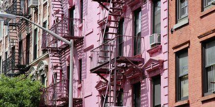 Färggranna husfasader i Soho i New York.