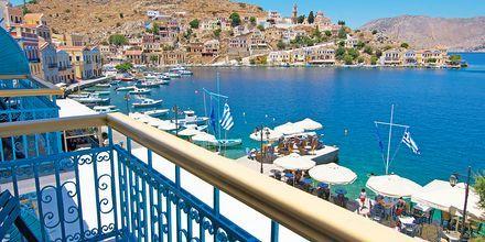 Utsikt från hotell Nireus på Symi, Grekland.