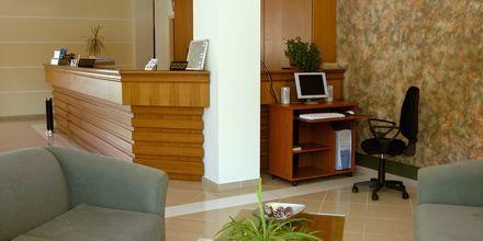 Receptionen på hotell Nontas på Kreta, Grekland