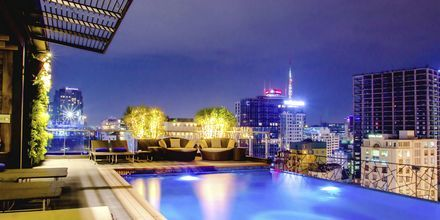 Takbaren och poolen på hotell Northern Saigon, Vietnam.