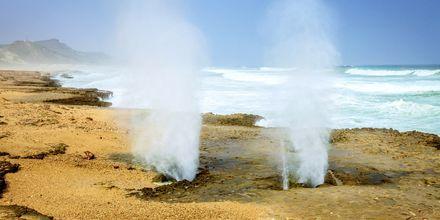 """Några av de kända """"blåshål"""" som finns på stranden i Mughsayl, väster om Salalah i Oman."""