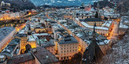 Vinter i Salzburg, Österrike.