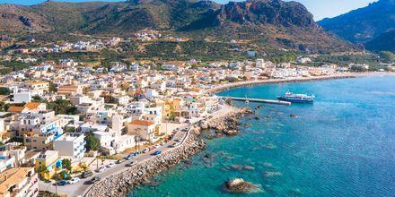 Utsikt över Paleochora på Kreta, Grekland.
