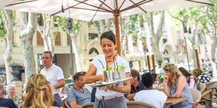 Cocktail-dags på restaurang i Palma, Mallorca, Spanien.