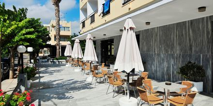 Terrassen på hotell Paritsa i Kos stad, Grekland.
