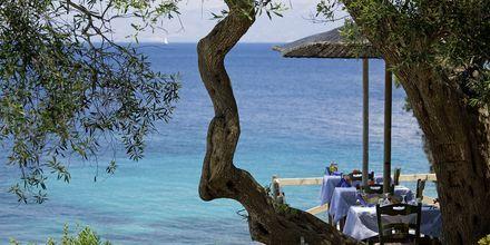 Tavernan på hotell Glyfada Beach Villa på Paxos.